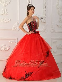 Brand New Red Quinceanera Dress Strapless Satin and Organza Ball Gown  http://www.fashionos.com  Do you want to be the focal point at the party? This red quinceanera will surely do you a favor. intricate embroidery with glittering beading, and symmetrical red lines encrusted on the corset bodice. The hand-made flower accented on the waist make the dress favorable.The skirt features appliqued trim which creates a beautiful shape of the dress.