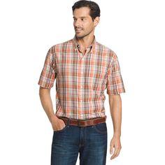 Big & Tall Arrow Plaid Button-Down Shirt, Med Beige