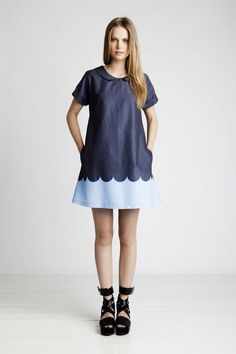 Peter Pan collar and scalloped print dress Marimekko Pixie Tunic in shades of bue Love Fashion, Kids Fashion, Fashion Outfits, Fashion Design, Fashion Trends, Marimekko Dress, Marimekko Fabric, Ugg, Dress Me Up