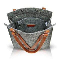 Grey Felt Bag With Leather Handle  FOX BAG by MOOSEdesignBAGS on Etsy, $126.70: