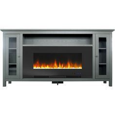 Cambridge Somerset 70 in. Gray Electric Fireplace TV Stand in Multi-Color with LED Flames Crystal Rock Display and Remote Control, Grey/Black Black Electric Fireplace, Electric Fireplace Tv Stand, Tv Stand With Fireplace, Fireplace Console, Electric Fireplaces, Black Fireplace, Fireplace Ideas, Fireplace Mantels, Swivel Tv Stand