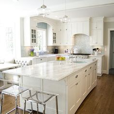 Quartz Countertops that look like marble! Dream kitchen!
