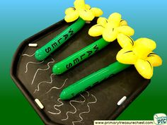 Wales - Saint David's Day - Daffodils Themed Mark Making - Letter Formation Multi-sensory Jumbo Chalks Tuff Tray Ideas and Activities Multi Sensory, Sensory Play, Welsh Gifts, Saint David's Day, Tuff Spot, Tuff Tray, Letter Formation, Eyfs, Role Play