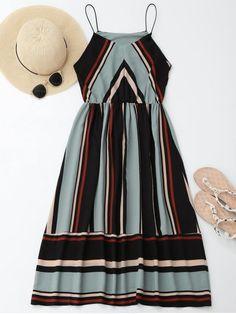 $18.99 Midi Holiday Sundress With Stripes - LIGHT BLUE M