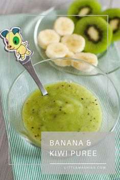 Kiwi And Banana Baby Puree – Ciara Wait – Homemade baby foods Baby Puree Recipes, Pureed Food Recipes, Baby Food Recipes, Banana Baby Food, Kiwi And Banana, Healthy Baby Food, Food Baby, Avocado Baby Food, Chicken Baby Food