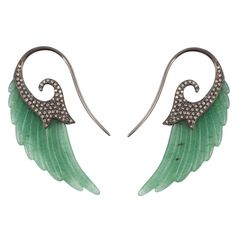£4,500 Fly Me to the Moon Aventurine Diamond Gold Wing Earrings