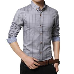 New Spring Fashion Slim Fit Long Sleeve Male Plaid Cotton