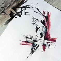 Abstract tattoo eagle trash polka bunette