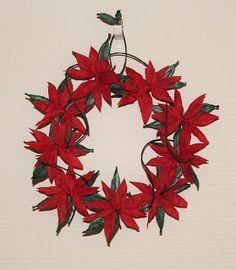 Christmas paper yarn wreath Christmas Paper, Crafts To Make, Wreaths, Blog, Crafting, Blogging, Garlands, Floral Arrangements, Flower Garlands