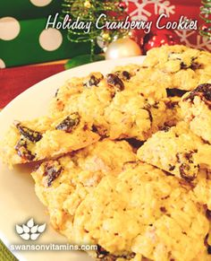 Swanson Holiday Cranberry Cookies feature Eden Foods Cranberries, Now Foods Turbinado Sugar, Bob's Red Mill Rolled Oats and Pastry Flour for a healthy take on a holiday classic.