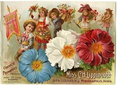 """A parade of flower-laden children are pictured on the cover of the 1896 Carrie Lippincott catalog cover.  The leader carries a banner with Carrie's initials. Next to the children are Chinese primroses. Carrie Lippincott, the self-proclaimed """"pioneer seedswoman"""" and """"first woman in the flower seed industry"""" established her mail-order flower seed business in Minneapolis in 1891. Sending out smaller 5 inch by 7 inch catalogs with colorful covers her business was aimed at women customers."""
