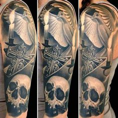 Black and Gray Tattoo - Skull Pigeon