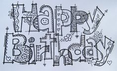 birthday doodle happy gambar simple doodles cards zentangle drawing colour drawings lettering rma coloring zeichnen doodling geburtstage schreiben graffiti basteln