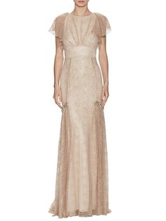 Looks vintage, doesn't it?  Metallic Flutter Sleeve Drop Waist Gown from A Night to Remember: Glam Gowns on Gilt