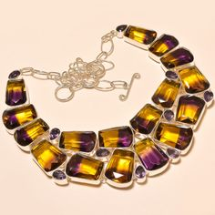 AMETRINE WITH FACETED AMETHYST EXCELLENT .925 SILVER NECKLACE #Handmade #Choker