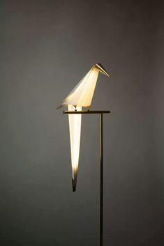 Perch Light by Umut Yamac (Playfully Interactive Light Shaped Like an Abstract Bird - My Modern Met)