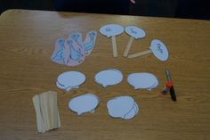 Here are the materials for the puppets that we made. You can see the pigeons in the left corner. The speech bubbles were used for a different activity, which I will post about shortly. Bus Crafts, Classroom Crafts, Classroom Ideas, Pigeon Books, Preschool Literacy, Preschool Ideas, Teaching Ideas, Interactive Read Aloud, Mo Willems