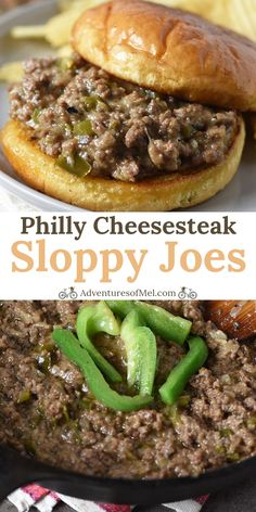 How to make the most delicious Philly cheesesteak sloppy joe.- How to make the most delicious Philly cheesesteak sloppy joes with ground beef, mushrooms, and provolone. Easy dinner idea and recipe! Ground Beef Recipes For Dinner, Dinner With Ground Beef, Easy Dinner Recipes, Easy Meals, Recepies With Ground Beef, Dinner Ideas With Hamburger, Recipes With Sausage Ground, Meals To Make With Ground Beef, Recipes Using Ground Beef