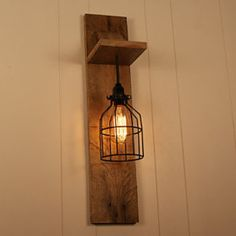 NEW ITEM-Cage Light Chandelier Wall Mount Fixture - Cage Lighting - Edison Bulb - Upcycled Wood