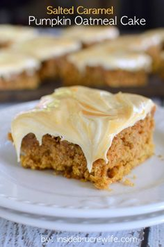 Salted Caramel Pumpkin Oatmeal Cake- This soft pumpkin oatmeal cake is topped with a creamy salted caramel frosting that is out of this world. #MyRecipeMagic #pumpkin #salted #cake #dessert