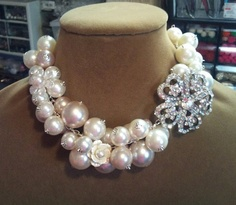 Vintage Style Rhinestone and Pearl Bridal Statement Necklace, Swafovski