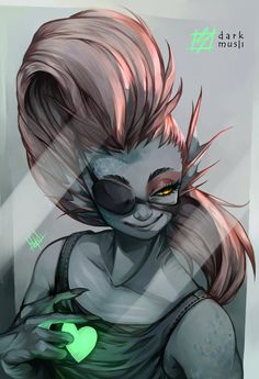 Undyne - Undertale by DarkMusli.deviantart.com on @DeviantArt Undyne - Undertale by DarkMusli  Character: Undyne © Toby Fox (Undertale) Tools: PaintTool SAI and Photoshop Illustration of this character that I really wanted to draw. In case here, it is the image that would be seen through a mirror, that is why the patch and the heart are inverted. Please don´t repost, distribute, modify, or use in any way without my permission. Thanks!