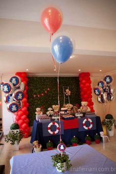 Mesa da festa infantil de tema Ursinhos Marinheiros