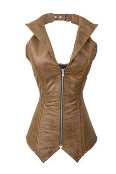 Amazon.com: Slinky Leather-like Overbust Corset with Windbreaker Collar, Brown: Clothing