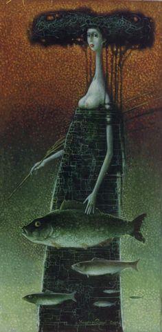 Vladimir Golub   -  Archaic Figure with the Fishes. 2000