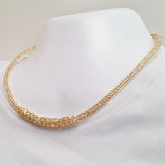Ladies viking knit necklace gold with beads by DonnaDStore on Etsy