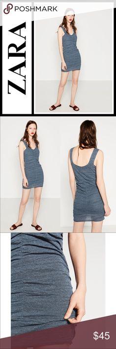 Zara Knit Mini Draped Dress NWT Zara Knit Mini Draped Dress in Dusty Blue, new with tags! Size medium ❣️ Zara Dresses Mini