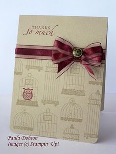 SU! Aviary stamp set. Love this color combo - by Paula Dobson.