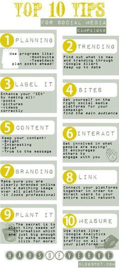 SOCIAL MEDIA - Top 10 tips for Social Media Campaigns #infografia #infographic #socialmedia.