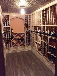 Wine Cellar with Wooden Wine Crate with Wainscot Base