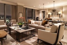 Powell and Bonnel Design Inc.  Elegant and radiant apartment in the city. Great tones and wonderful view.