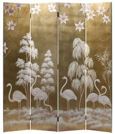 folding screens| hand-painted wood screen featuring flamingos on an antiqued gold leaf background