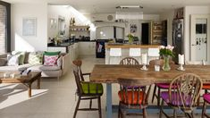 Table for country style kitchen Alistair Nicholls for Beautiful Kitchens Dining Room Colour Schemes, Dining Room Colors, Dining Room Design, Basement Kitchen, Kitchen Family Rooms, Living Room Kitchen, Space Kitchen, Big Kitchen, Kitchen Corner