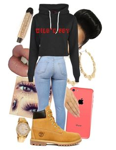 """""""I'm on Wild'n Out"""" by kenibrooks ❤ liked on Polyvore featuring River Island, Wet Seal, Boohoo, Timberland and Rolex"""