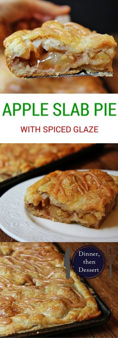 Apple Slab Pie.  A flaky crust, tender apples, warm spices, it's a delicious handheld pie in slab form, which means you get more crust per bite! It is topped with all the flavors in the pie because it uses all the leftover spiced liquids from the apples!
