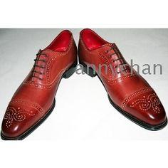 Buy men's dress shoes handmade shoes full brogue ox ...