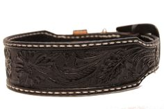 Sheridan style tooling finished in black leather dog collar by AcrossLeather, $90.00