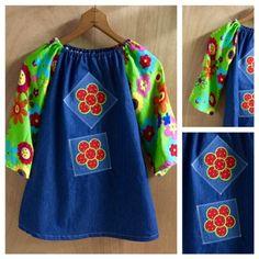 Feeling Groovy Denim Dress, girls size 5 by SewMeems on Etsy