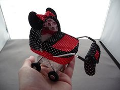 1/12th scale modern black and red micro dot with Minnie Mouse detail,  pram, buggy, stroller, baby carriage hand crafted miniature