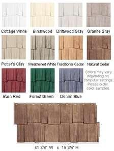 colour choices for vinyl cedar shake siding
