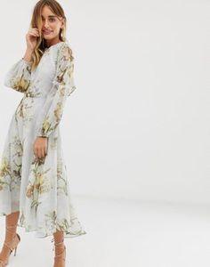 80a3af1331 Hope   Ivy high neck midi dress with open back in blue floral