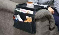 Arm Rest Organizer with Table Top, Groupon - DealsPlus Kitchen Storage Solutions, Tv Remote Controls, Home Theater Design, Pocket Organizer, Cover Size, Furniture Deals, Bedroom Storage, Storage Rack, Sofa Chair