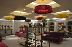 Manolo Blahnik, Harrods - Skirted chandeliers bespoke lighting project