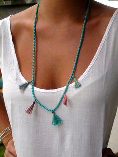 Aqua Beaded Tassel Necklace - Ladies Statement Jewelry