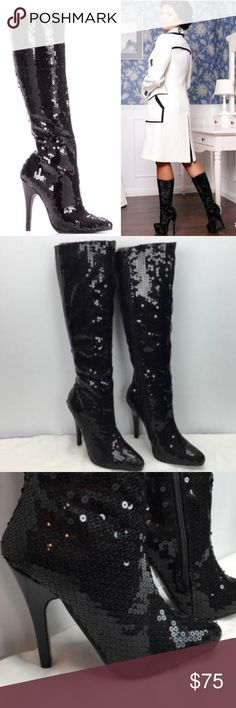 Sexy Sequence Black Boots These sexy and stylish single sole high heel boots feature a sequin fabric upper with a pointed closed toe, stiletto heel, inner side zipper closure, smooth lining, and cushioned footbed. Approximately 5 inch heels, 14 circumference, and 22 1/2 inch shaft. If you have any questions please don't hesitate to ask Shoes Heeled Boots