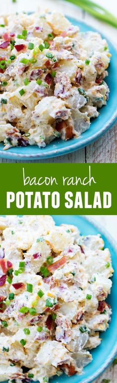 Bacon Ranch Potato Salad will be the BEST side dish you make this summer!This Bacon Ranch Potato Salad will be the BEST side dish you make this summer! Bacon Ranch Potato Salad, Bacon Ranch Potatoes, Roasted Potatoes, Pasta Salad Ranch, Sour Cream Potato Salad, Funeral Potatoes, Creamy Potato Salad, Skillet Potatoes, Bacon Potato